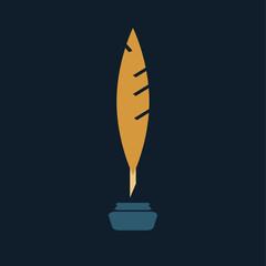Quill pen feather writing logo design vector stock