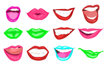 Woman kissing and smiling cartoon lips isolated decorative icons for holiday fashion design. Red, rose, green and blue lips