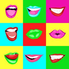 Colorful woman lips pop art style