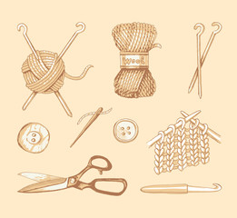 Tools and materials for knitting. Vector sketch