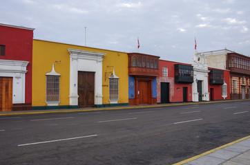 Trujillo, Peru -  January 11, 2014: Colorful colonial houses in Trujillo downtown, Peru