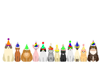 cats border set with colorful party hat