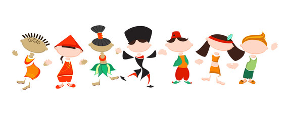 Stylized people in national costumes. Funny stickers of different nationality people. Friendship of Peoples. Traditional costumes. Concept of tolerance.
