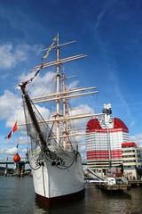 Sailing school ship and Skanskaskrapan Gothenburg, Sweden Scandinavia