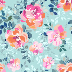 Soft pink and orange flowers on a blue background - seamless print