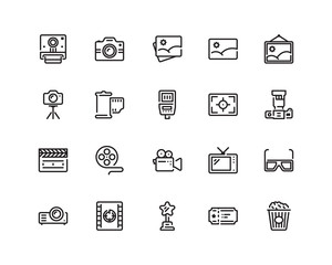 Photo and Video outline style icons