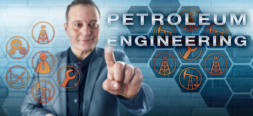 Smiling Manager Touching PETROLEUM ENGINEERING