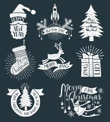 Christmas retro logos