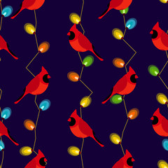 Seamless pattern with red cardinal and garland with color lights. Vector background.