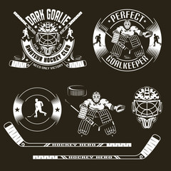 Hockey emblems with goalkeeper