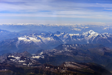 Swiss and French Alps. View from the bird's-eye