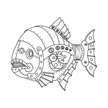 Steampunk style piranha fish coloring book vector