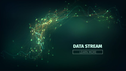 Abstract data stream vector background. Technology futuristic illustration. Network connection