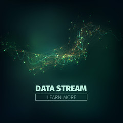 Abstract data stream vector background. Technology futuristic illustration. Network signal