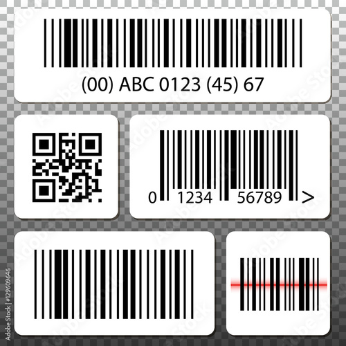 Barcode and QR code stickers template set, collection on transparent ...