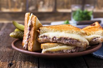 Homemade tuna melt sandwich