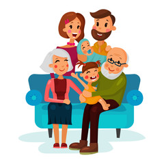 Family with children sitting on couch