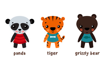 Panda or koala, grizzly bear and tiger animals