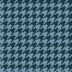 Seamless houndstooth pattern in blue grey. Vector image.