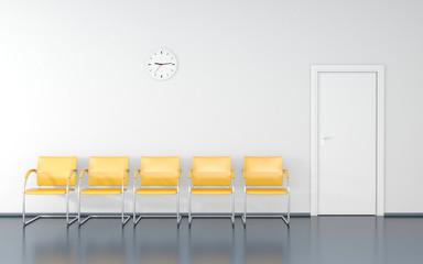 Fototapeta Five yellow stools and wall clock in the waiting room obraz