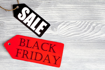 concept black friday on wooden background top view