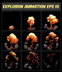 Vector explosion, cartoon animation frames for game. Sprite sheet on dark background.