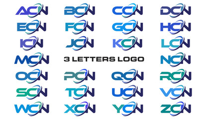 3 letters modern generic swoosh logo ACN, BCN, CCN, DCN, ECN, FCN, GCN, HCN, ICN, JCN, KCN, LCN, MCN, NCN, OCN, PCN, QCN, RCN, SCN, TCN, UCN, VCN, WCN, XCN, YCN, ZCN,
