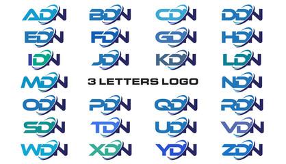 3 letters modern generic swoosh logo ADN, BDN, CDN, DDN, EDN, FDN, GDN, HDN, IDN, JDN, KDN, LDN, MDN, NDN, ODN, PDN, QDN, RDN, SDN, TDN, UDN, VDN, WDN, XDN, YDN, ZDN,
