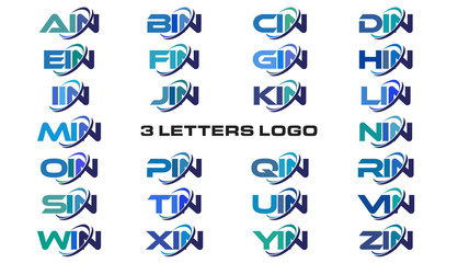 3 letters modern generic swoosh logo AIN, BIN, CIN, DIN, EIN, FIN, GIN, HIN, IIN, JIN, KIN, LIN, MIN, NIN, OIN, PIN, QIN, RIN, SIN, TIN, UIN, VIN, WIN, XIN, YIN, ZIN,