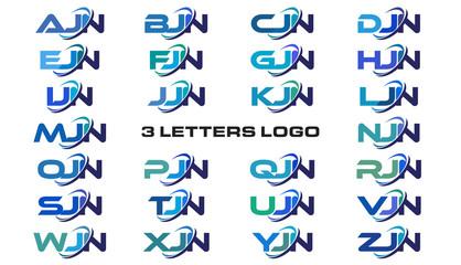 3 letters modern generic swoosh logo AJN, BJN, CJN, DJN, EJN, FJN, GJN, HJN, IJN, JJN, KJN, LJN, MJN, NJN, OJN, PJN, QJN, RJN, SJN, TJN, UJN, VJN, WJN, XJN, YJN, ZJN,
