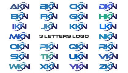 3 letters modern generic swoosh logo AKN, BKN, CKN, DKN, EKN, FKN, GKN, HKN, IKN, JKN, KKN, LKN, MKN, NKN, OKN, PKN, QKN, RKN, SKN, TKN, UKN, VKN, WKN, XKN, YKN, ZKN,