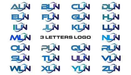 3 letters modern generic swoosh logo ALN, BLN, CLN, DLN, ELN, FLN, GLN, HLN, ILN, JLN, KLN, LLN, MLN, NLN, OLN, PLN, QLN, RLN, SLN, TLN, ULN, VLN, WLN, XLN, YLN, ZLN,