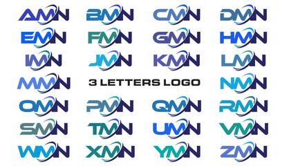 3 letters modern generic swoosh logo AMN, BMN, CMN, DMN, EMN, FMN, GMN, HMN, IMN, JMN, KMN, LMN, MMN, NMN, OMN, PMN, QMN, RMN, SMN, TMN, UMN, VMN, WMN, XMN, YMN, ZMN,