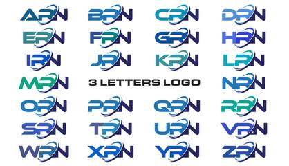 3 letters modern generic swoosh logo ARN, BRN, CRN, DRN, ERN, FRN, GRN, HRN, IRN, JRN, KRN, LRN, MRN, NRN, ORN, PRN, QRN, RRN, SRN, TRN, URN, VRN, WRN, XRN, YRN, ZRN,