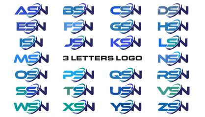 3 letters modern generic swoosh logo ASN, BSN, CSN, DSN, ESN, FSN, GSN, HSN, ISN, JSN, KSN, LSN, MSN, NSN, OSN, PSN, QSN, RSN, SSN, TSN, USN, VSN, WSN, XSN, YSN, ZSN,