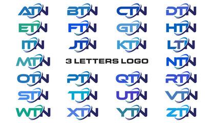 3 letters modern generic swoosh logo ATN, BTN, CTN, DTN, ETN, FTN, GTN, HTN, ITN, JTN, KTN, LTN, MTN, NTN, OTN, PTN, QTN, RTN, STN, TTN, UTN, VTN, WTN, XTN, YTN, ZTN,