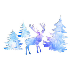 Watercolor deer in the forest