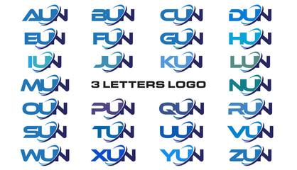 3 letters modern generic swoosh logo AUN, BUN, CUN, DUN, EUN, FUN, GUN, HUN, IUN, JUN, KUN, LUN, MUN, NUN, OUN, PUN, QUN, RUN, SUN, TUN, UUN, VUN, WUN, XUN, YUN, ZUN,