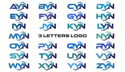 3 letters modern generic swoosh logo AYN, BYN, CYN, DYN, EYN, FYN, GYN, HYN, IYN, JYN, KYN, LYN, MYN, NYN, OYN, PYN, QYN, RYN, SYN, TYN, UYN, VYN, WYN, XYN, YYN, ZYN,