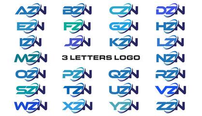 3 letters modern generic swoosh logo AZN, BZN, CZN, DZN, EZN, FZN, GZN, HZN, IZN, JZN, KZN, LZN, MZN, NZN, OZN, PZN, QZN, RZN, SZN, TZN, UZN, VZN, WZN, XZN, YZN, ZZN,