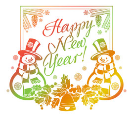 """Holiday label with funny snowman and written greeting """"Happy New Year!""""."""