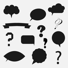 question mark in colorful speech bubbles