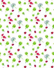 Clover and ladybird seamless pattern