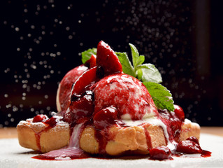 Wall Murals Dessert Yogurt dessert with berries strawberry and cherry on bakes toast