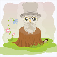 Cute owl sitting on a fat tree stump. Vector illustration