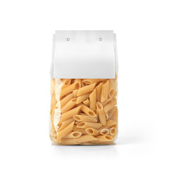 Transparent plastic pasta bag with paper label isolated on white background. Packaging template mockup collection. With clipping Path included. Stand-up Front view. Penne Rigate shape