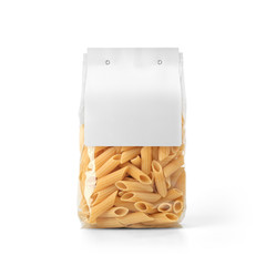 Transparent plastic pasta bag with paper label isolated on white background. Packaging template mockup collection. With clipping Path included. Stand-up Back view. Penne Rigate shape