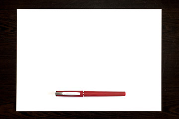 Red pen Isolated on a white paper sheet, template ready for your design