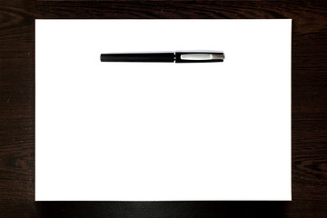 Black pen Isolated on a white paper sheet, template ready for your design