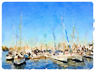 Digital watercolor painting of yachts in a marina in Barcelona, Spain, with space for text.